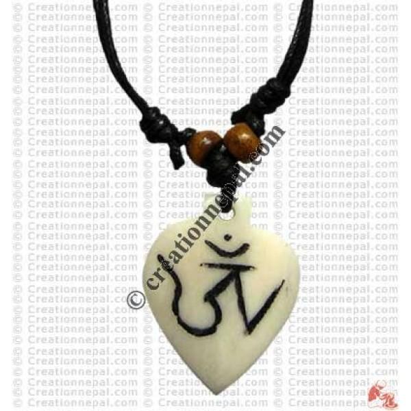 Tibetan OM carved pendant 2