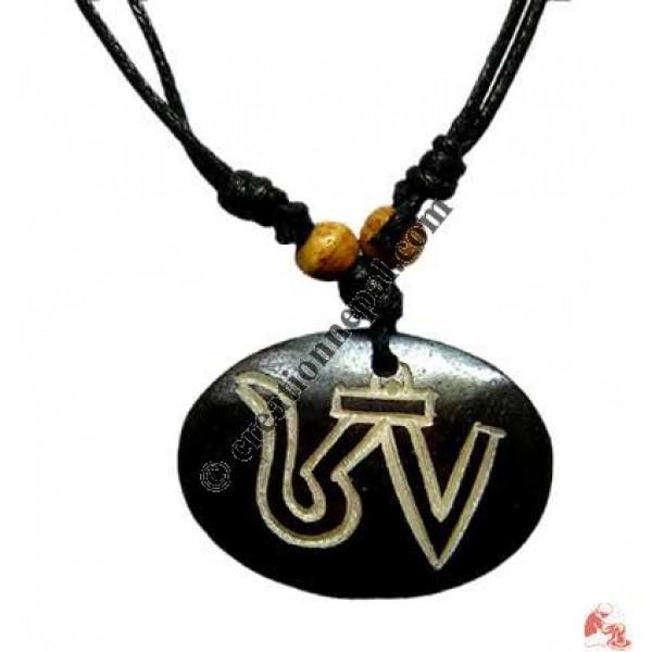 Tibetan OM carved pendant 3