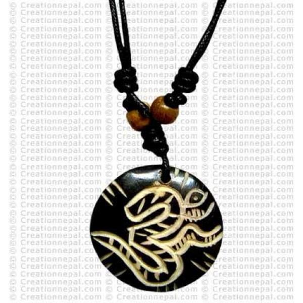 Sanskrit OM carved pendant 2