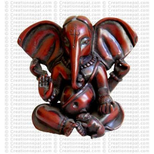Meditating red Ganesh