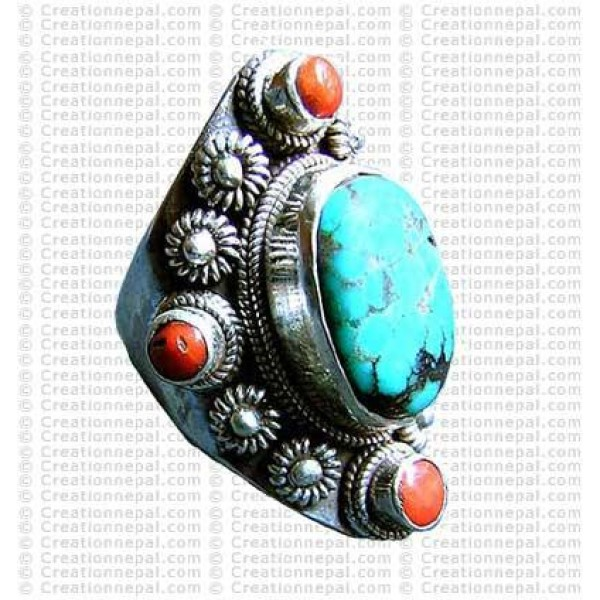 Turquoise stone finger ring 10