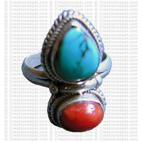 Turquoise and Coral stone finger ring