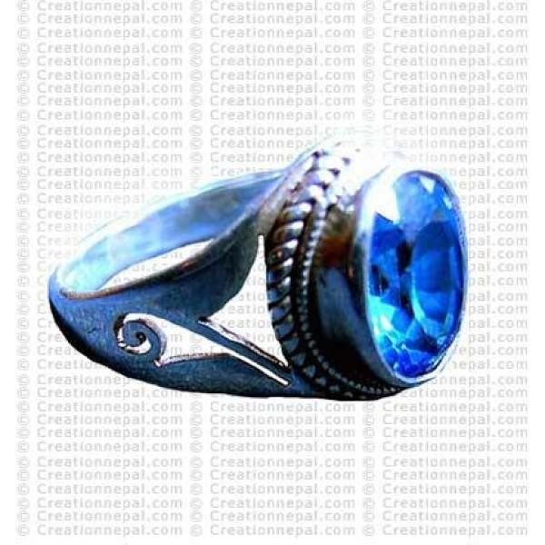 Blue Zircon stone finger ring