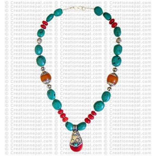 Silver cap Tibetan coral pendant necklace