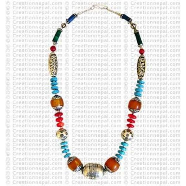 Tibetan multi beads necklace1