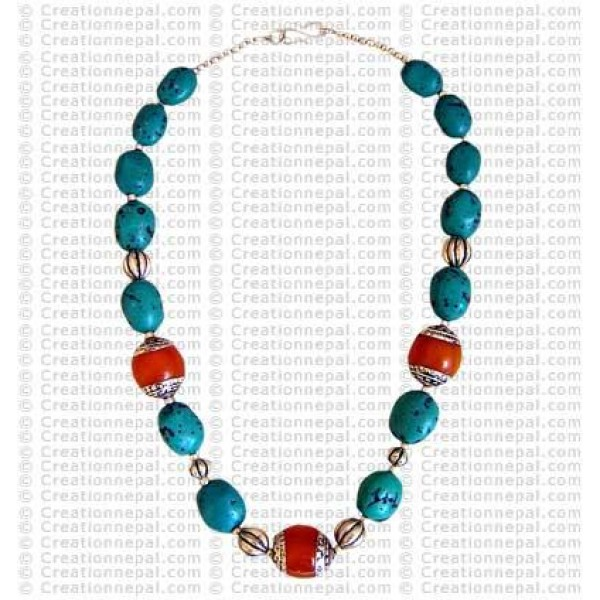Amber and Turquoise necklace1