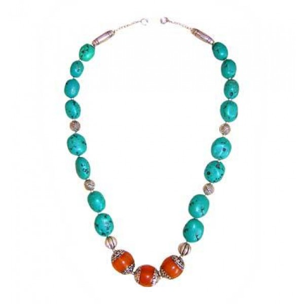 Amber and Turquoise necklace2