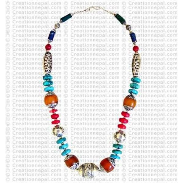 Tibetan multi beads necklace2