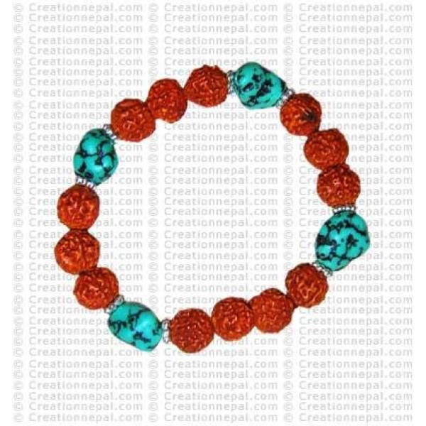 Turquoise and rudraksha beads wristband