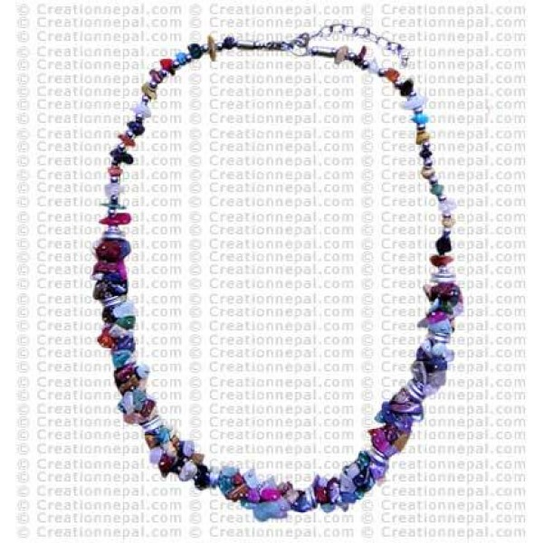 Mixed stone-chips necklace
