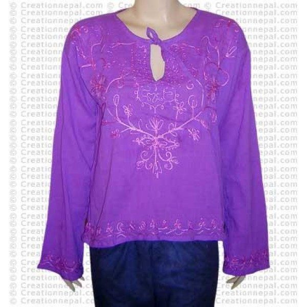 Embroidered crepe top-06