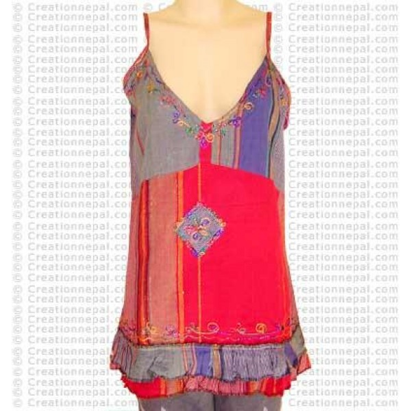 Multicolor stripped sleeveless top-26
