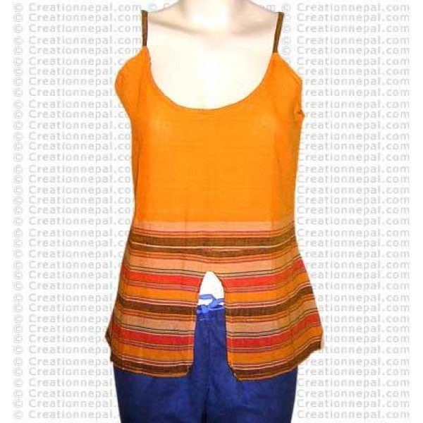 Sleeveless joined cotton top-35