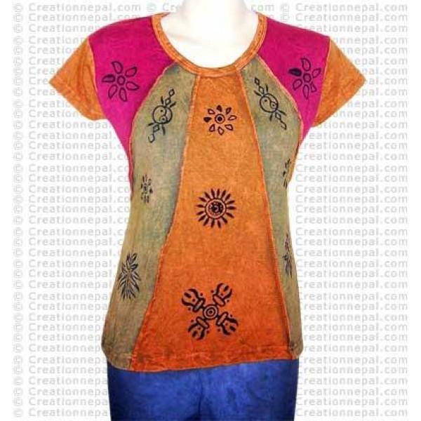 Block print stonewash rib t-shirt