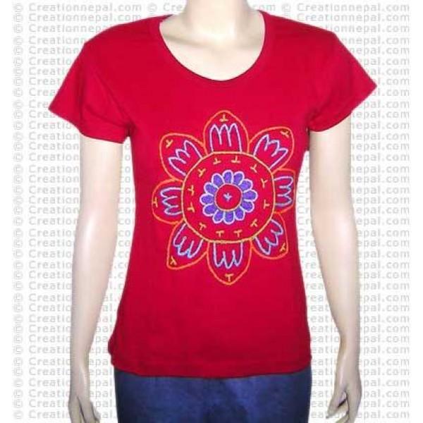 Crochet Big-sun rib t-shirt