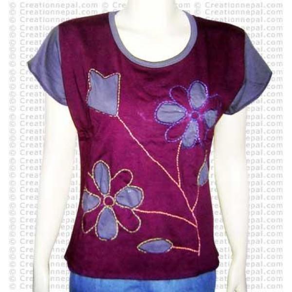 Flower inlay rib half tshirt