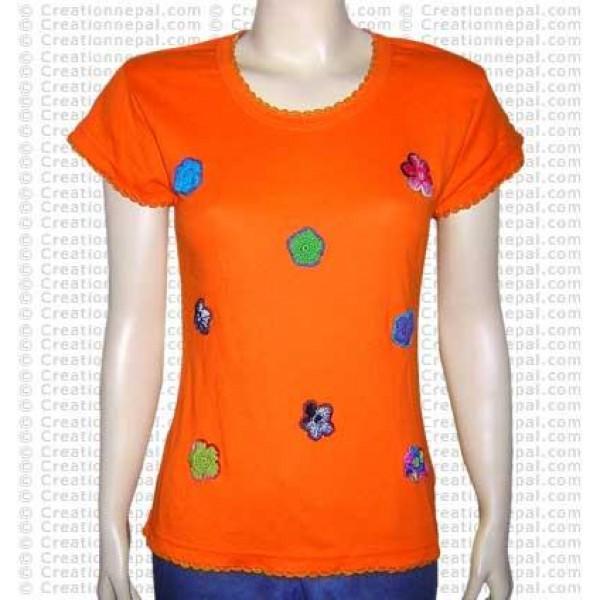 Crochet flowers rib half t-shirt