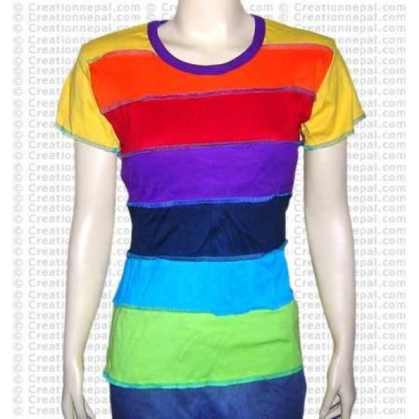 Rainbow stripes rib t-shirt