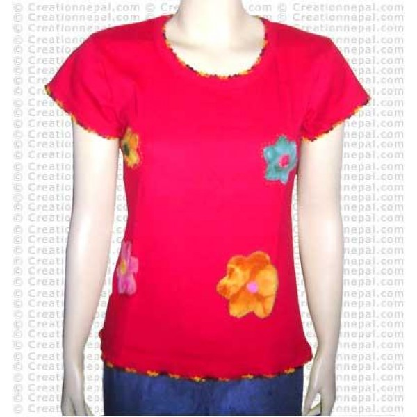 Flower patch-work rib half t-shirt