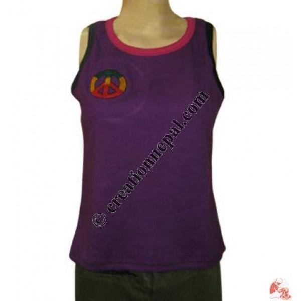 Peace design sleeveless rib t-shirt