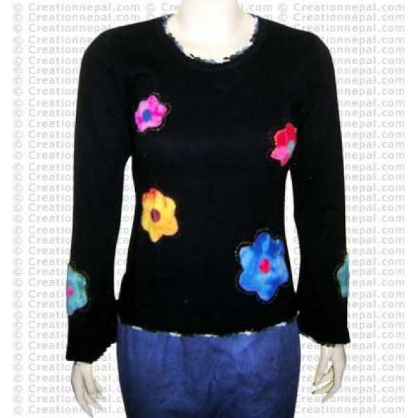 Flower patch crochet rib t-shirt