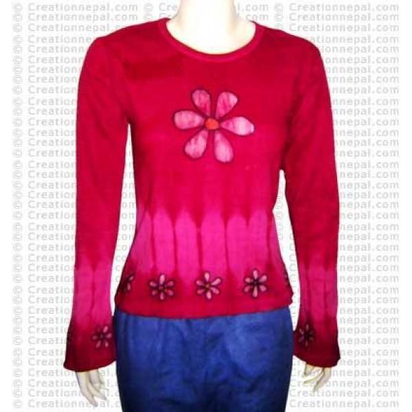 Flower paint rib t-shirt