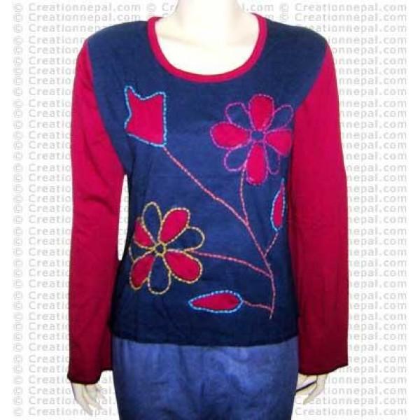 Crochet flower inlay rib tshirt
