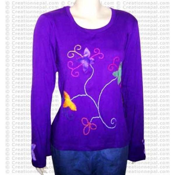 Crochet flower rib tshirt