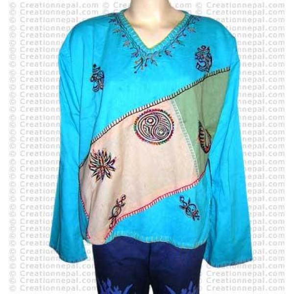 Cotton patch-crochet top