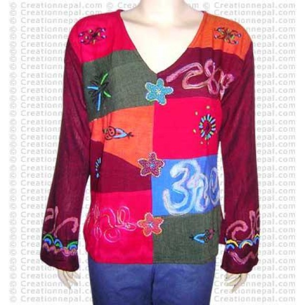 Cotton patch-paint & embroidery-OM top