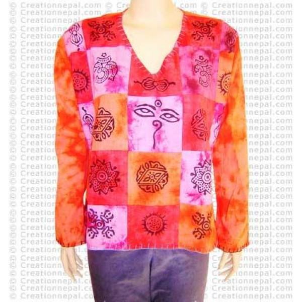 Cotton patch die-dye top