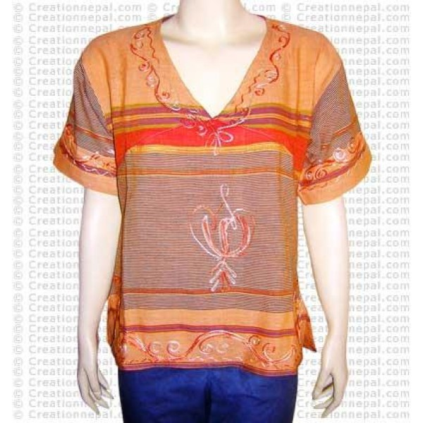 Stripe cotton embroidered top