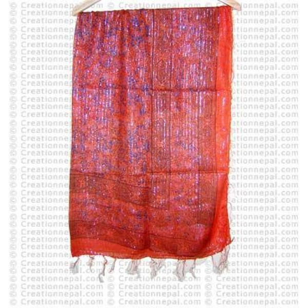 Extra thin cotton-Jari printed scarf