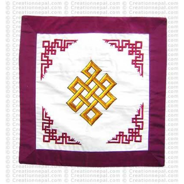 Embroidered knot cushion cover