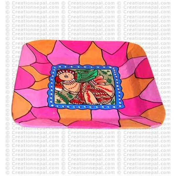 Mithila painting square tray