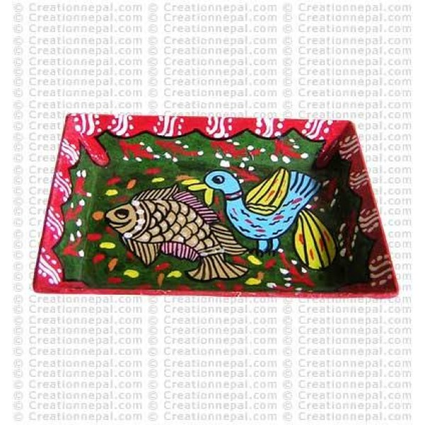 Mithila art - fish & bird small tray