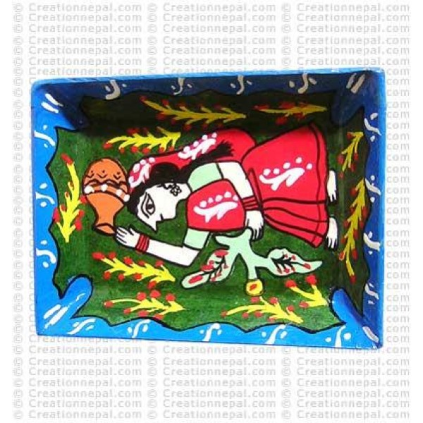 Mithila art - woman with water pot small tray