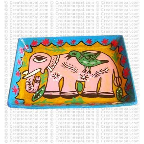 Mithila art - bird on elephant small tray