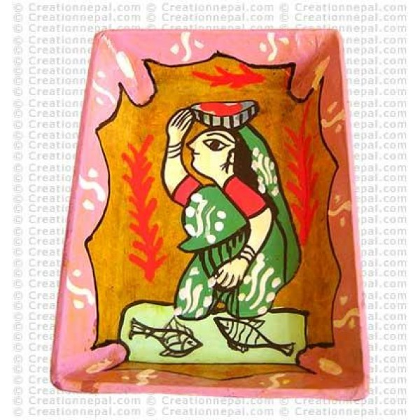 Mithila art - woman from the shopping tray