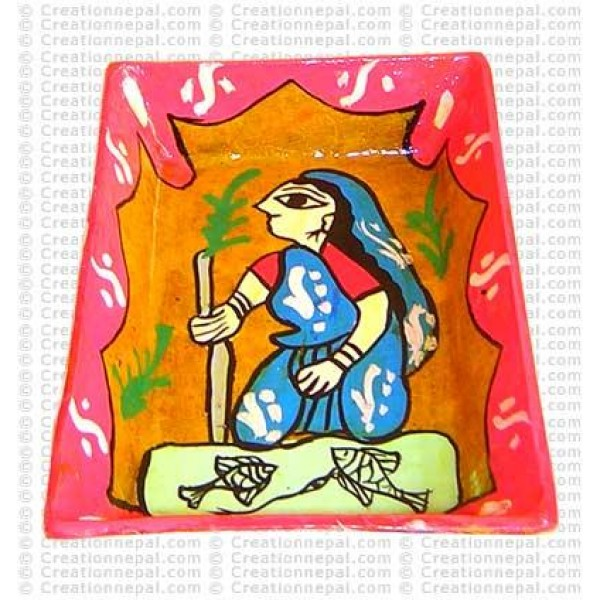Mithila art - old woman tray
