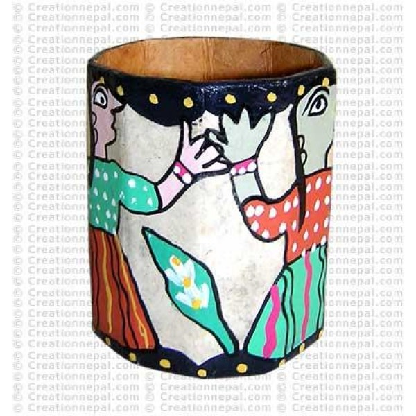 Mithila painting - girls pen holder