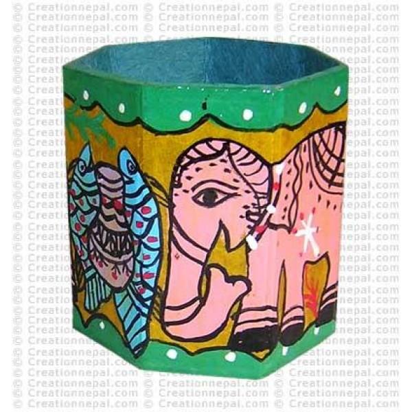 Mithila painting - elephant and fish pen holder