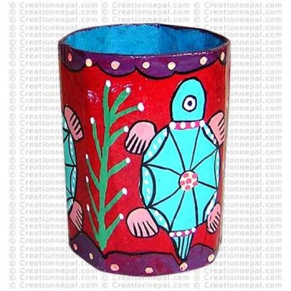 Mithila painting - tortoise pen holder