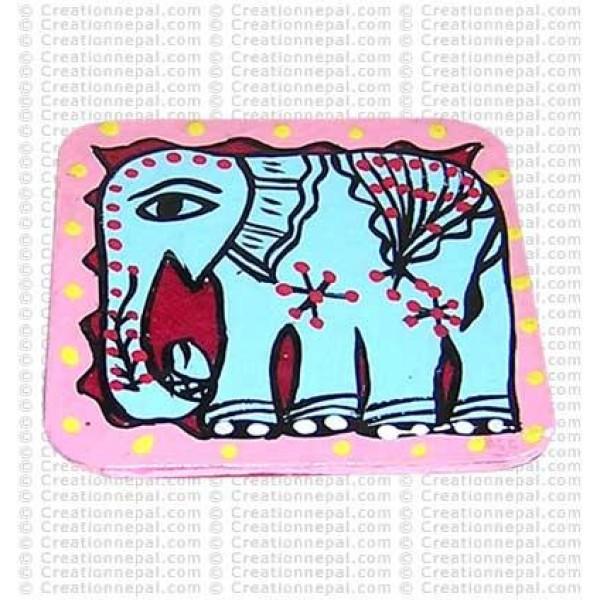 Mithila painting - elephant tea-mat set of 6