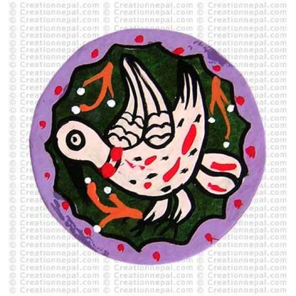 Mithila painting - bird tea-mat set of 6