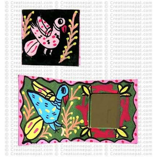 Mithila bird painting folding tiny mirror