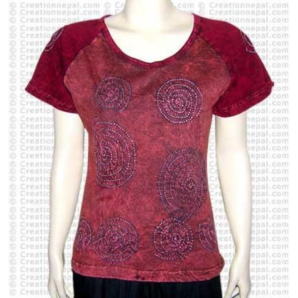 Chakra design rib t-shirt