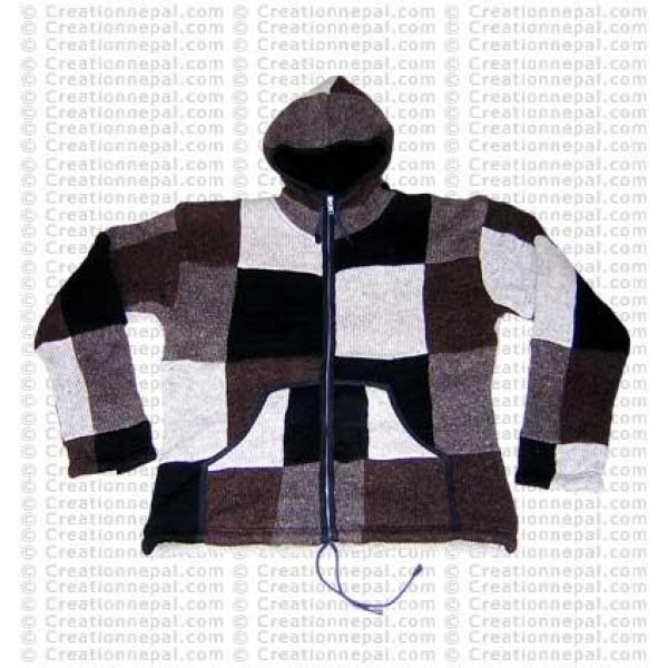 Patch-work woolen jacket