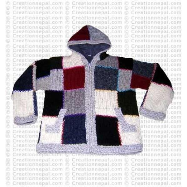 Entire patch-work woolen jacket