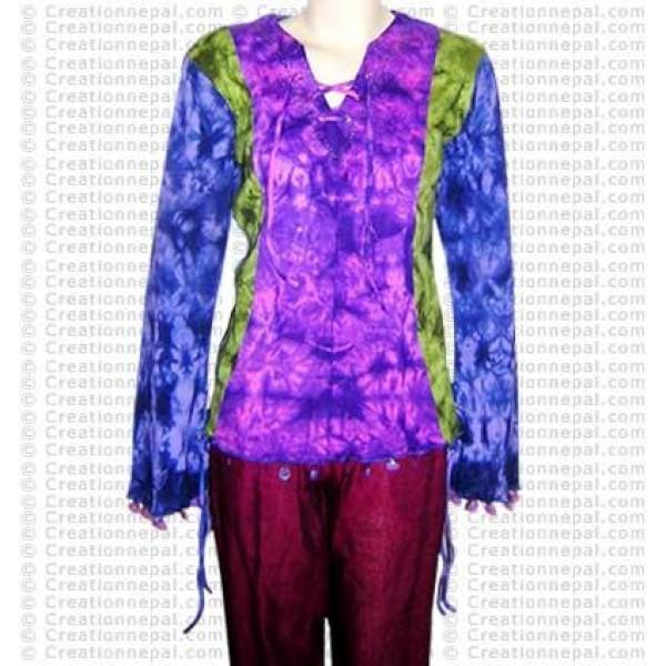 Lace design tie-dye t-shirt